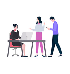 woman working in company dealing with clients vector image