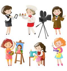 Women doing different kinds jobs vector