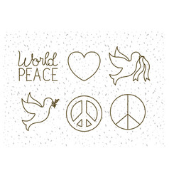 world peace set icons vector image