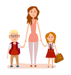 Young mother holding two school children art icon vector