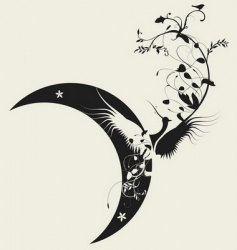bird and moon design vector image vector image