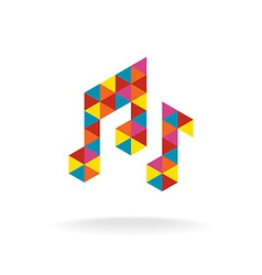 Music notes logo template Colorful triangles sign vector image