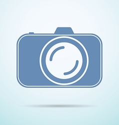 Professional photocamera flat icon on blue vector image vector image