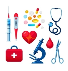 Set of medical icons isolated color flat vector image