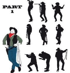 Silhouettes of cowboy vector image vector image