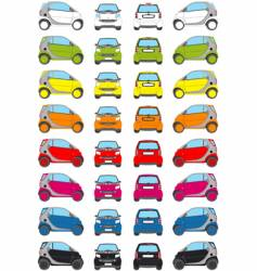 colour little car icons vector image vector image