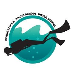 DIVING SCHOOL logo vector image