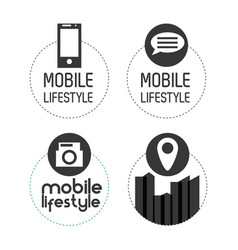 set digital technology apps icons vector image