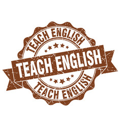 teach english stamp sign seal vector image