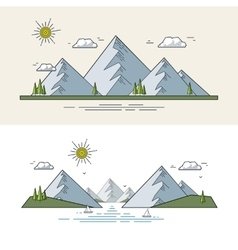 Flat mountain landscape vector image vector image