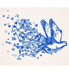 hand drawn floral flying bird vector image