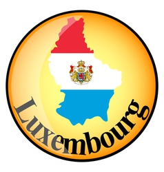 orange button with the image maps of Luxembourg vector image vector image