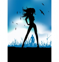 pretty woman silhouette on nature vector image