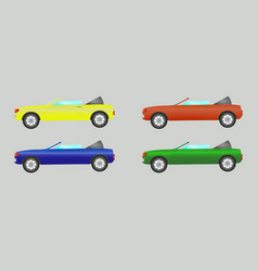 set of cars convertible in different colors vector image vector image