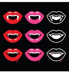 Vampire mouth vampire teeth icons on black vector image
