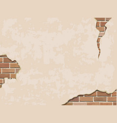 weathered wall background with brick vector image vector image