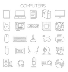 computer service and parts icon set vector image