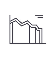high area chart line icon sign vector image