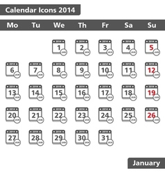 January 2014 Calendar Icons vector image vector image