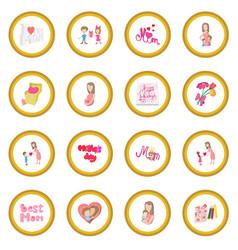 mother day cartoon icon circle vector image vector image