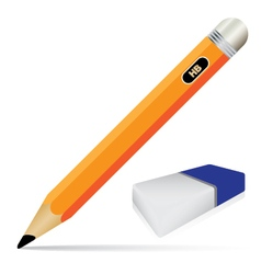 Pencil and eraser isolated on white background vector image vector image