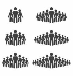 people icon set stick figures crowd signs vector image