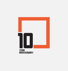 10 year anniversary square template design vector