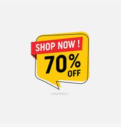 70 percent off sale discount banner vector