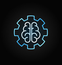 ai brain in gear blue outline icon on dark vector image