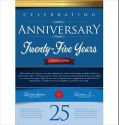 Anniversary blue certificate 25 years vector