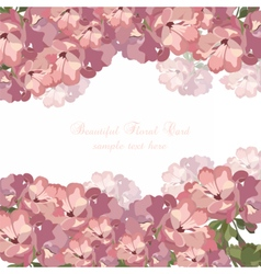 Beautiful Watercolor pink flowers card vector image