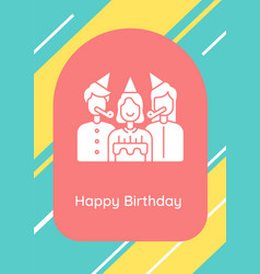 Best wishes for birthday greeting card with glyph vector