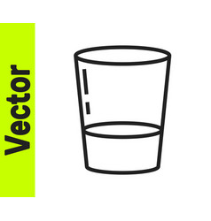 black line glass with water icon isolated on white vector image