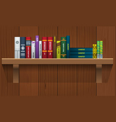 book shelf with realistic books stalks vector image