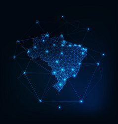brazil map outline with stars and lines abstract vector image