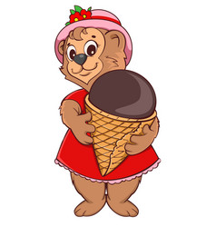 Brown bear female keeps ice cream cone vector