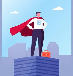 business hero leader in superhero cloak rotop vector image