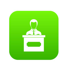 businessman giving presentation icon digital green vector image