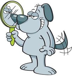 Cartoon dog holding a mirror vector image