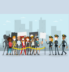 cartoon flat protest people and police characters vector image