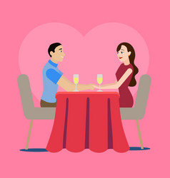 cartoon loving couple in a cafe concept for ad vector image