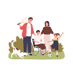 Child on wheelchair together with his family vector
