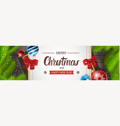 christmas horizontal banner happy new year vector image