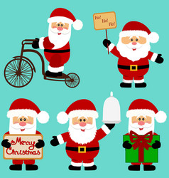 christmas icons santa claus collection new year vector image