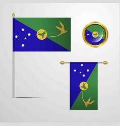 Christmas island waving flag design with badge vector