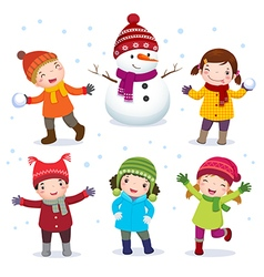 Collection of kids with snowman in winter costume vector image