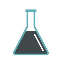 conical flask test tube with oil icon flat style vector image