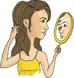 cosmetic mirror girl vector image