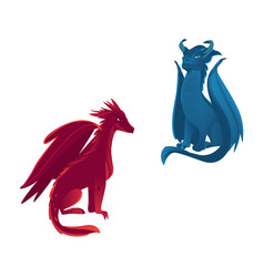 couple of dragon characters with wings and horns vector image
