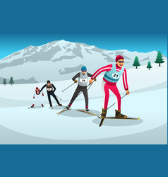 Cross country skiing athletes competing vector